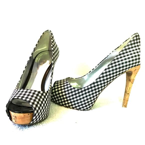 Guess Black Checkered Stiletto Heels